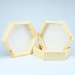 SET 3 rame hexagonale lemn