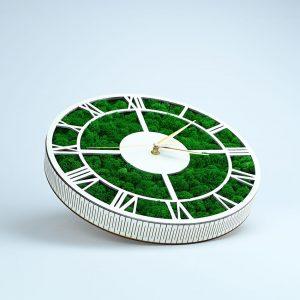 Tablou ceas cu licheni alb