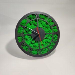 Tablou ceas cu licheni negru