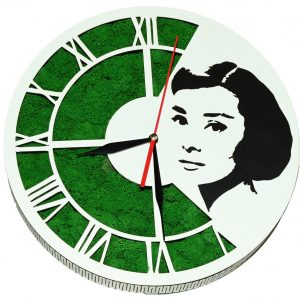 Tablou ceas cu licheni Audrey Hepburn
